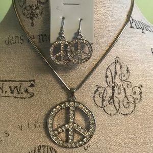 Jewelry - Rhinestone peace symbol necklace and earrings set